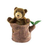Folkmanis - Bear in Tree Stump Puppet